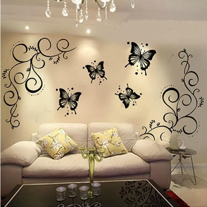 Papillon d coration stickers muraux miroir salle de bain for Papillon de decoration