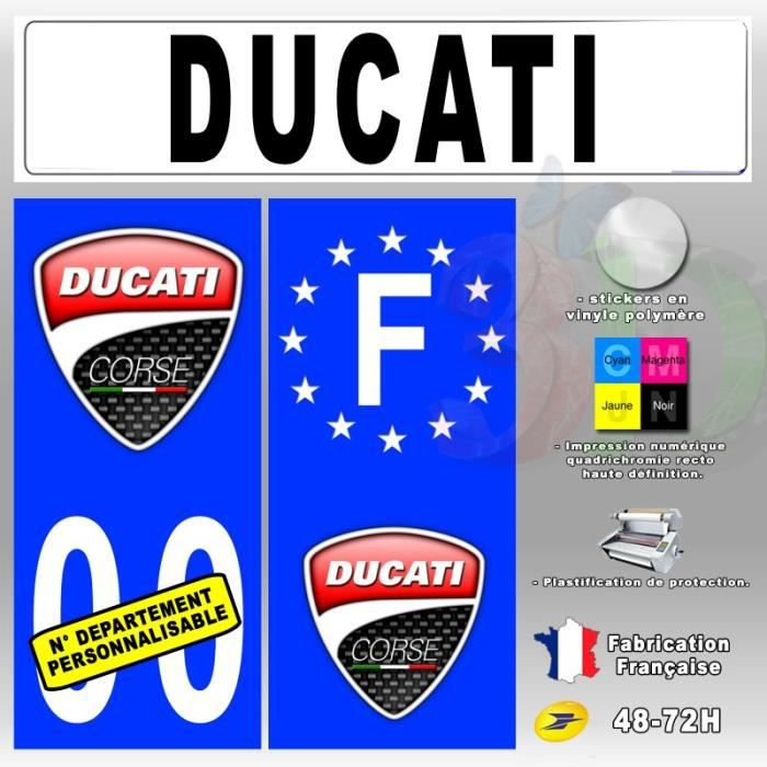 stickers plaque d 39 immatriculation 39 ducati corse 2 39 auto moto fond bleu 67x30 mm moto achat. Black Bedroom Furniture Sets. Home Design Ideas