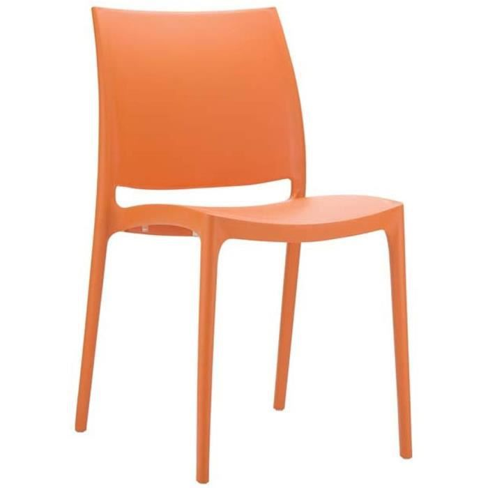chaise de jardin empilable en plastique orange dim h81. Black Bedroom Furniture Sets. Home Design Ideas