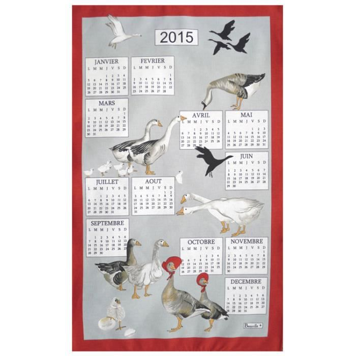 Torchon calendrier 2015 oies beauvill achat vente torchon essuie main cadeaux de - Torchon calendrier ...