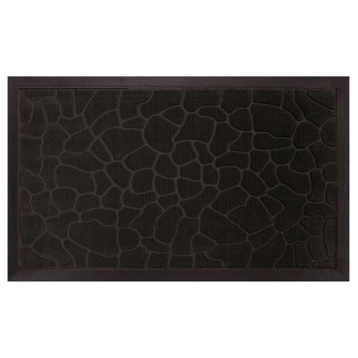 tapis d 39 entr e galets 45x75 cm noir achat vente tapis d 39 entr e 100 polypropyl ne et 100. Black Bedroom Furniture Sets. Home Design Ideas