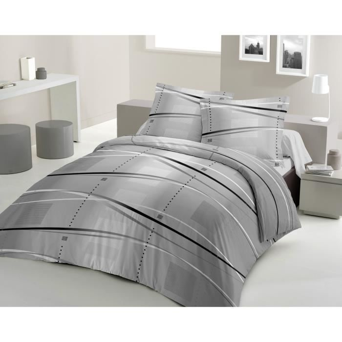 housse de couette santiago 240x260cm gris achat vente housse de couette cdiscount. Black Bedroom Furniture Sets. Home Design Ideas