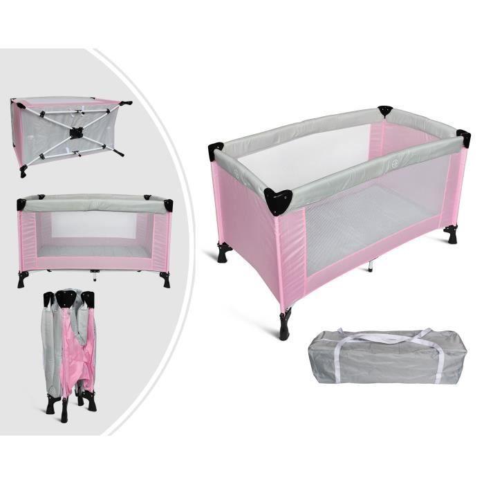 Gris//Rose Sotech 125 x 65 x 76 cm Parc de Jeu pour B/éb/é Standard CE Charge maximale: 15 kg Lit Parapluie Pliable Taille d/éploy/ée: 125 x 76 x 65 cm