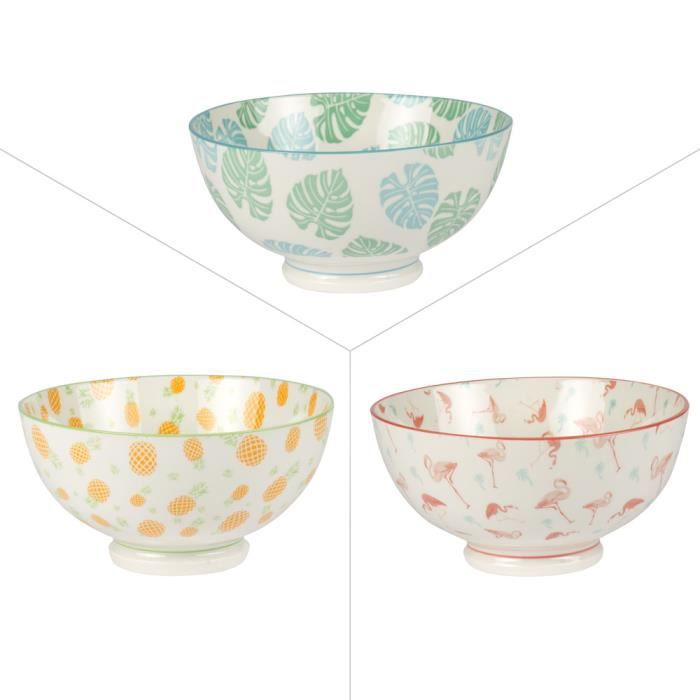 date de sortie a0d5e 5f57f TABLE PASSION - LOT DE 3 BOLS PORCELAINE 15 CM TROPIC ASSORTIS NEURE  Multicolore