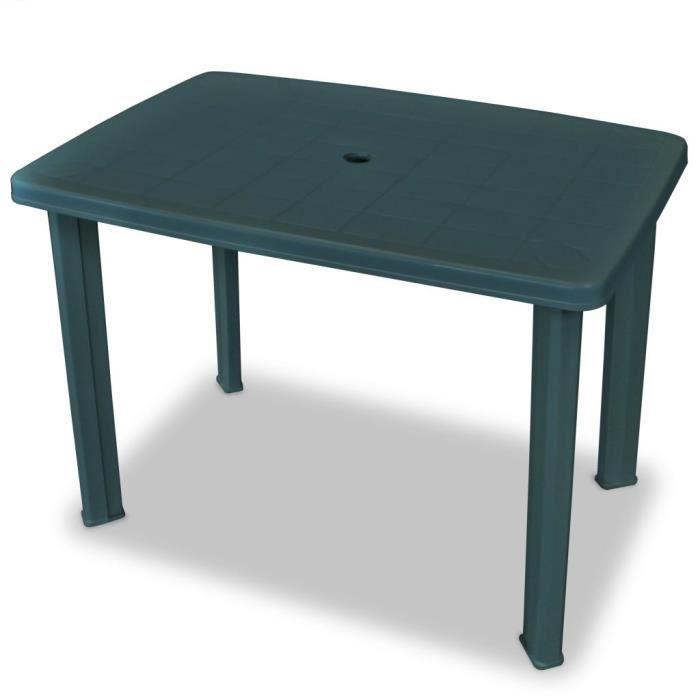VidaXL Table de jardin 101 x 68 x 72 cm Plastique Vert ...