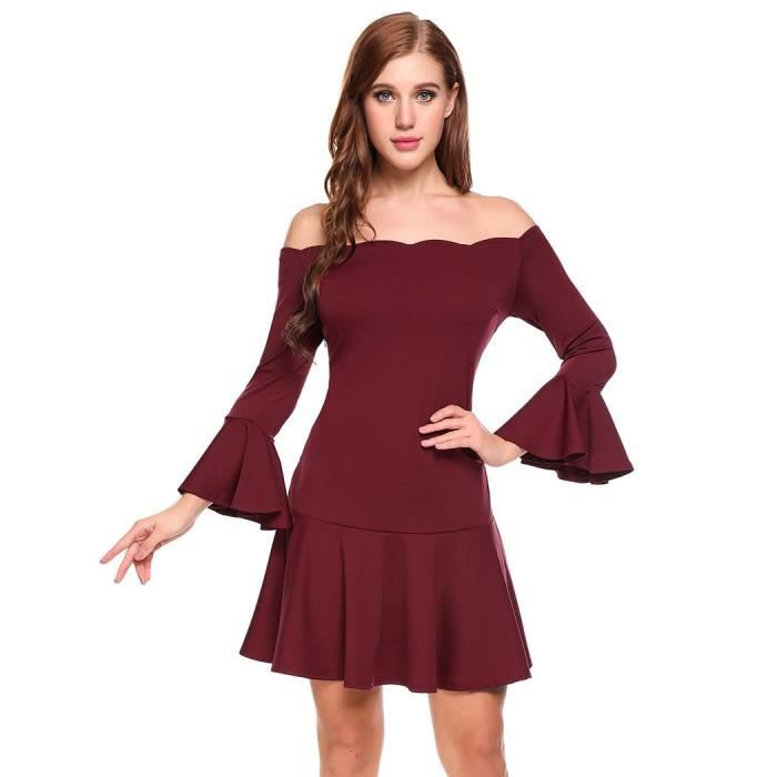 Femmes robe formelle Cocktail Vintage Casual Flare manche solide bateau cou