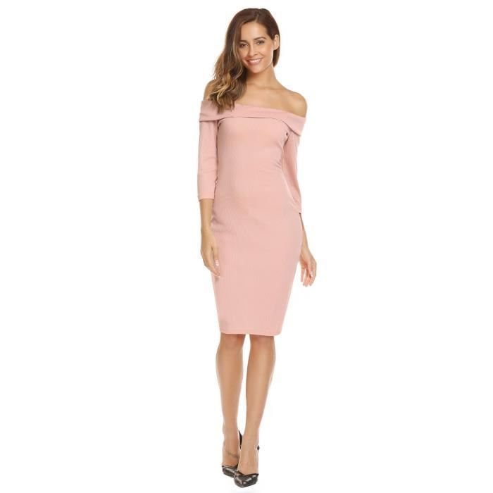 Femme Robe en crayon solide lépaule 3-4 Manches Slim Ribbed