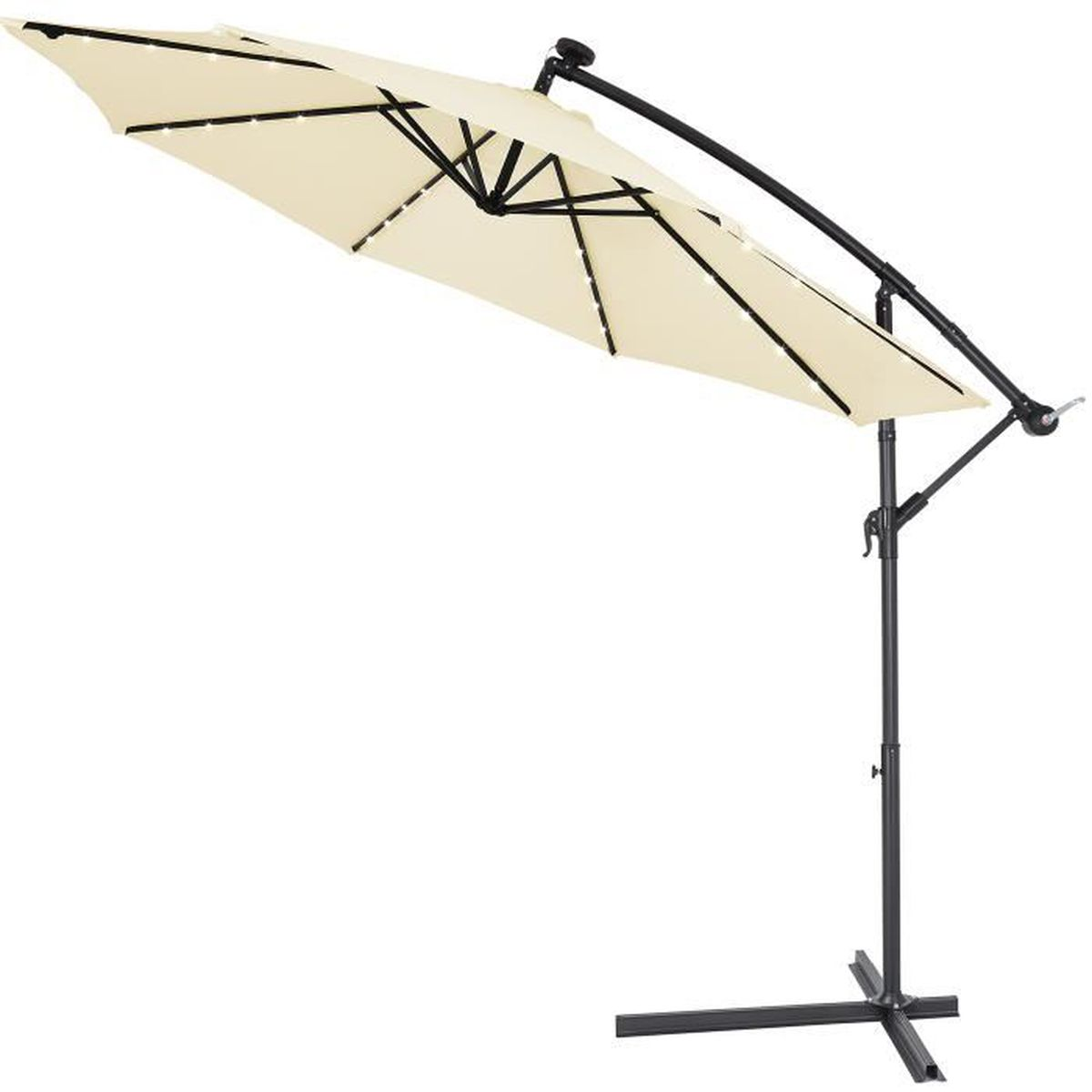 Eclairage Solaire Pour Tonnelle parasol déporté • aluminium • Ø3m • haiti • éclairage 32 led • lampe  solaire • crème | protection, manivelle • parasol de jardin