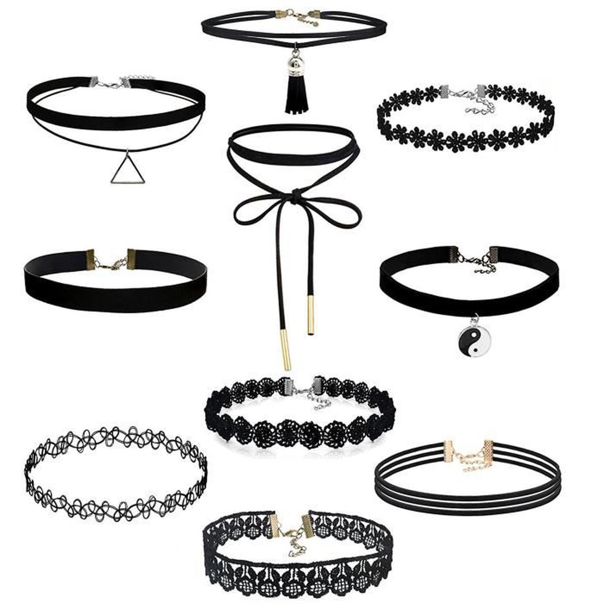 collier ras du cou choker noir dentelle elastique reglable style femme bijoux fantaisie tendance. Black Bedroom Furniture Sets. Home Design Ideas