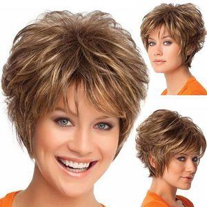 PERRUQUE - POSTICHE Mode perruque courte coupe de cheveux bouclés coul