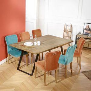 TABLE À MANGER SEULE Table de salle à manger chêne massif, pieds métal,