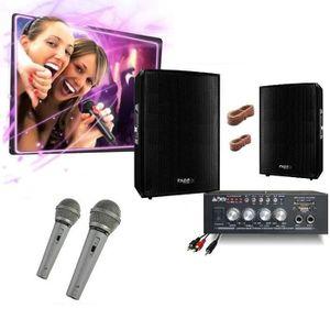 PACK SONO PACK KARAOKE 600 + AMPLI + 2 ENCEINTES 300W + 2 MI