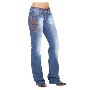 Women/'s Coupe Droite Jeans Jean Stretch Skinny brodé Pantalon Tailles UK 8-16