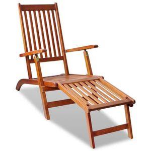 CHAISE Chaise de terrasse Chaise longue Bois d'acacia ave