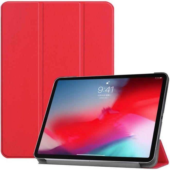 Coque iPad Pro 11- - Slim & Léger PU Cuir Housse avec Support Étui iPad Pro 11- 2018, Auto Réveil /Sommeil - Rouge