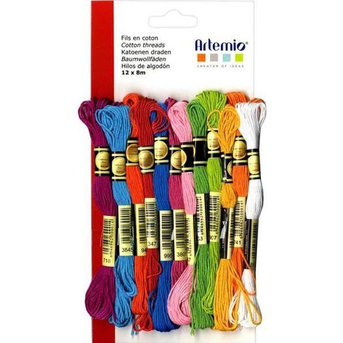 12 fils coton multicolores x 8 m - Eté