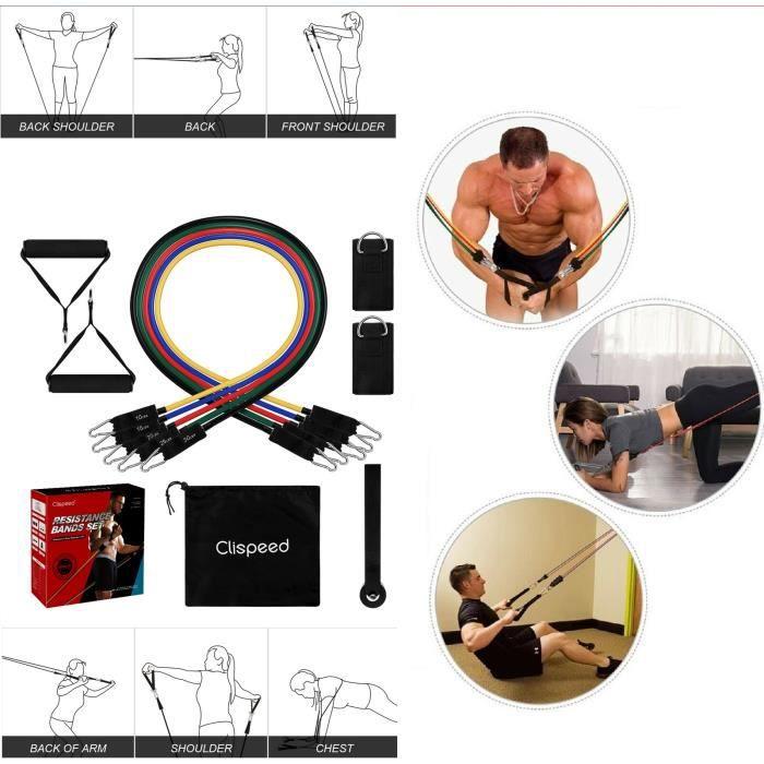 Bandes de Résistance Set Elastiques, Artizlee Kit de 11 Accessoires Musculation-Bandes de Fitness Exercice Elastiques Yoga Pilâtes G