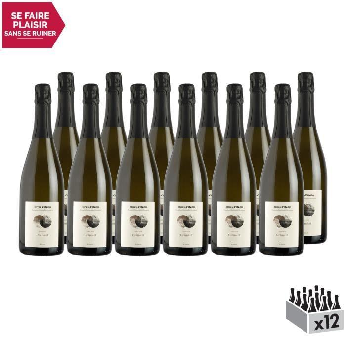 Alsace Crémant Extra Brut Blanc - Lot de 12x75cl - Terres d'étoiles - Vin AOC Blanc d' Alsace - Cépages Pinot Auxerrois,