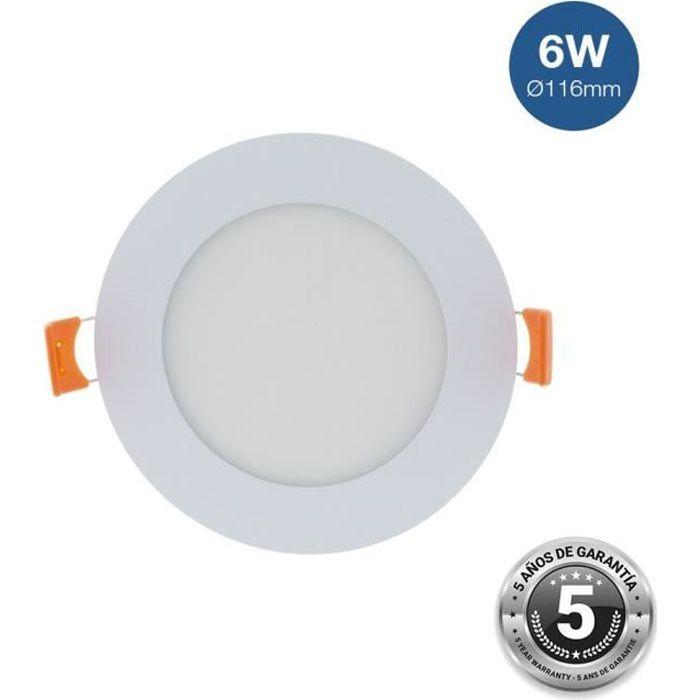Spot LED encastrable extra-plat rond 6W - Température lumière :Blanc Chaud