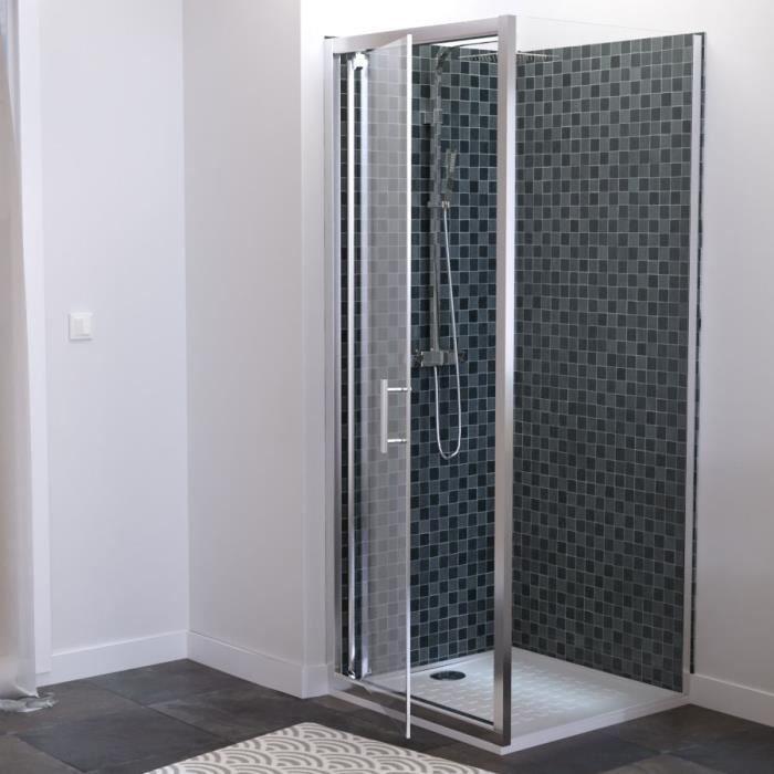 Paroi de douche d'angle 80x80 cm avec porte pivotante avec retour sans cadre NERINA