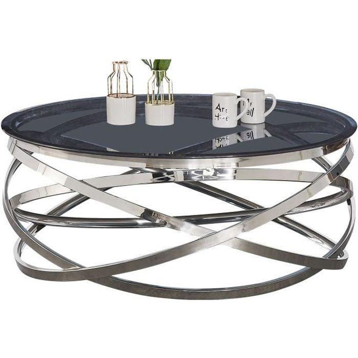 Table basse design rond avec piètement en acier inoxydable poli argenté et plateau en verre trempé anthracite L. 100 x H. 43 cm