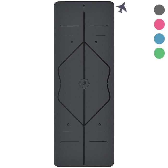 Liforme Le Tapis de Yoga Travel Le Tapis de Yoga écologique, transportable, léger et antidérapant avec Un système Unique et Origi
