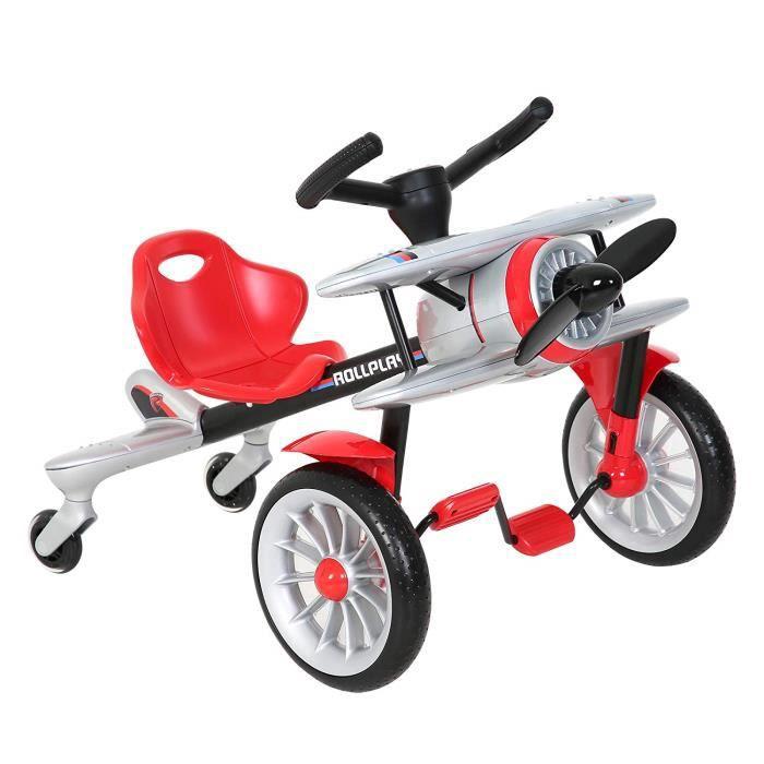 ROLLPLAY Véhicule Type Kart à Pédales, Design Avion, À partir de 2,5 Ans, Jusqu'à 25 kg, Planedo, Gris de Rollplay