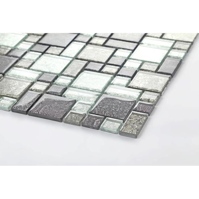Carrelage mosaïque en verre. Noir et Argent. (MT0044) - échantillion