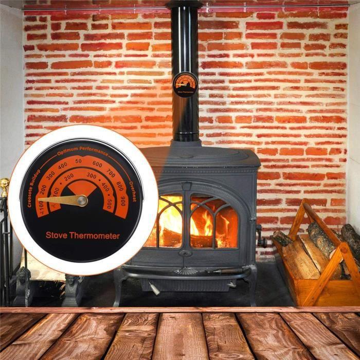 AR1845 Thermomètre de poêle magnétique alimenté par la chaleur pour poêle à bois poêle à bois brûleur de cheminée ventilateur de che