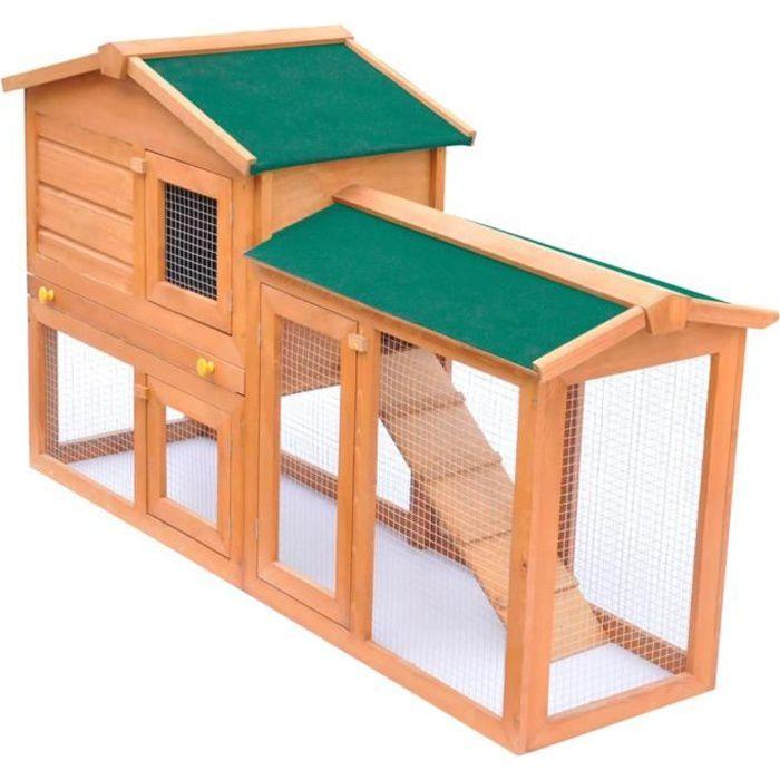 MAISON*3742Nouveau Clapier d'extérieur Cage pour petits animaux de compagnie - Cabane Lapin Animaux Grand Poulailler Bois