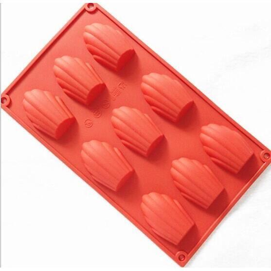 Moule à gateaux,Moule à gâteaux en Silicone 9-15 trous Coquille de Madeleine 3D, moule à pâtisserie, poêle à - Type 9-Bigger Shell