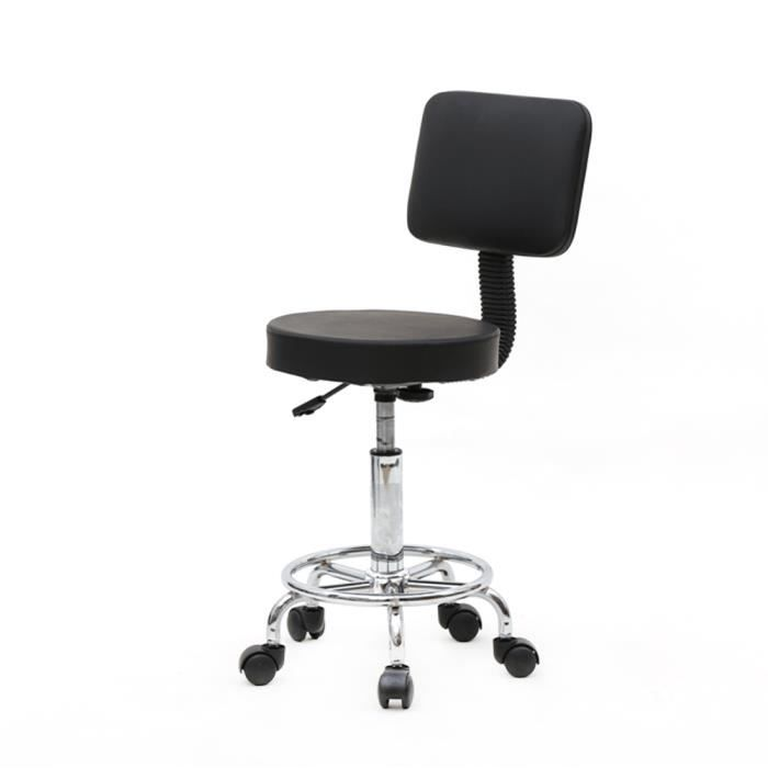 BEB Tabouret de salon réglable de forme ronde avec dossier-PU leather- Support 360 degree rotation(noir)