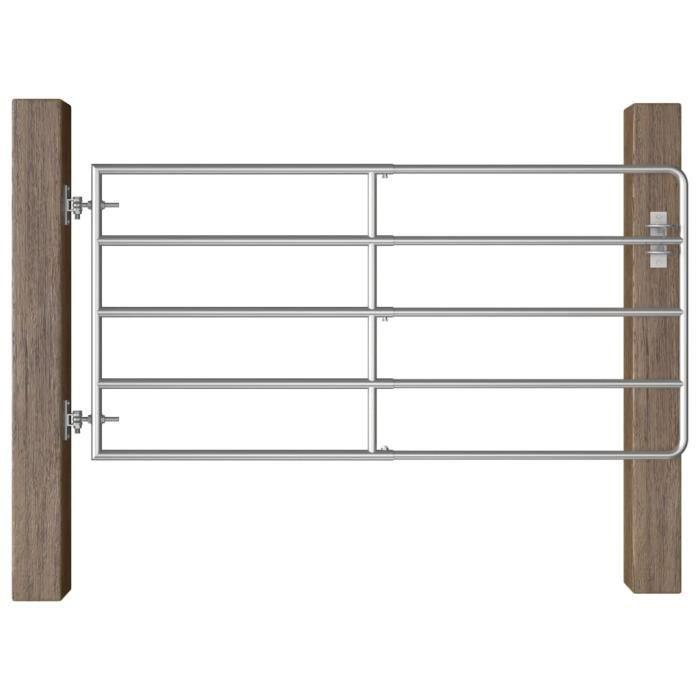 :)49856 GRAND Portillon à 5 barres Portail de jardin ECONOMIQUE - Portail de Clôture Porte de jardin Acier (95-170)x90 cm Argenté