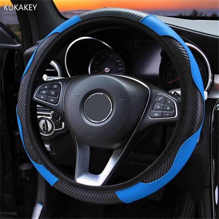 Couvre volant,Housse de volant de voiture en cuir, antidérapante et Anti poussière, universelle, pour Peugeot 108 206 - Type Blue