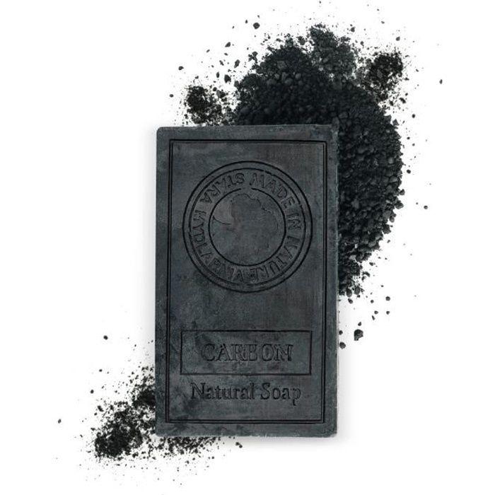 Savon noir au charbon actif 75g – Idéal comme nettoyant visage, gommage corps, anti acne... [Savon au charbon et huile de coco]