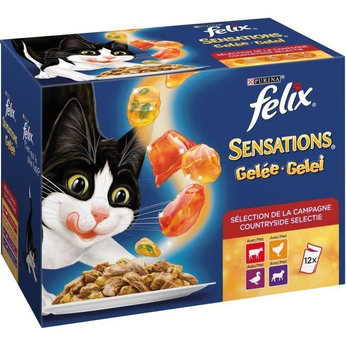 FELIX Sensations en gelée - Viandes bœuf, poulet, canard et agneau - Pour chat adulte - 36 x 100 g