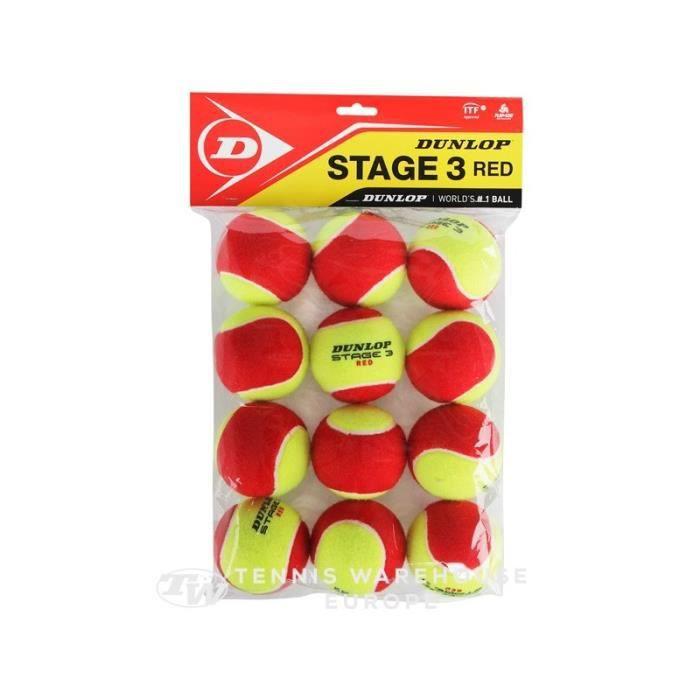 Sachet de 12 balles Mousses Feutrées DUNLOP Stage 3 Red