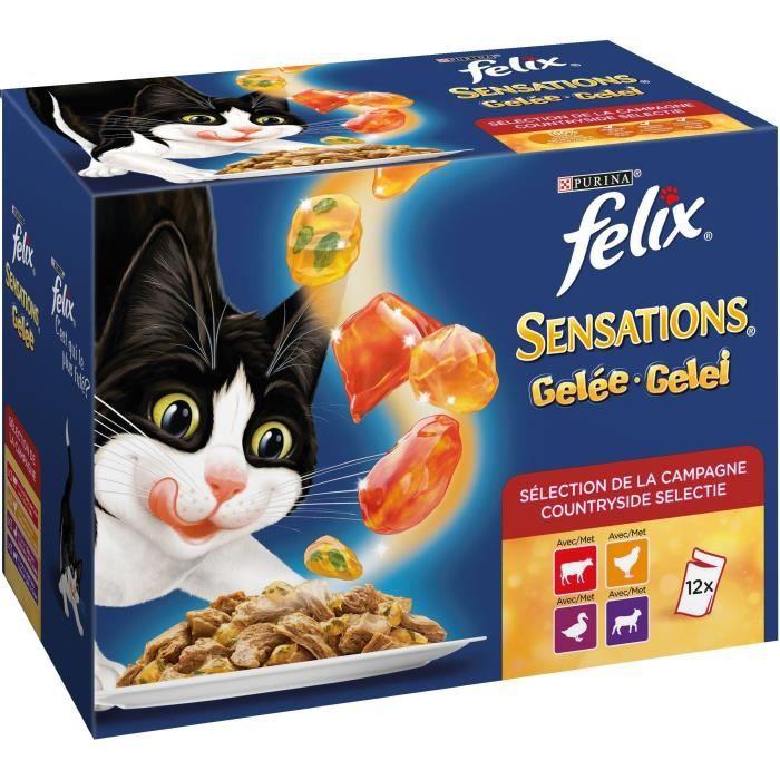 FELIX Sensations en gelée - Viandes bœuf, poulet, canard et agneau - Pour chat adulte - 12 x 100 g