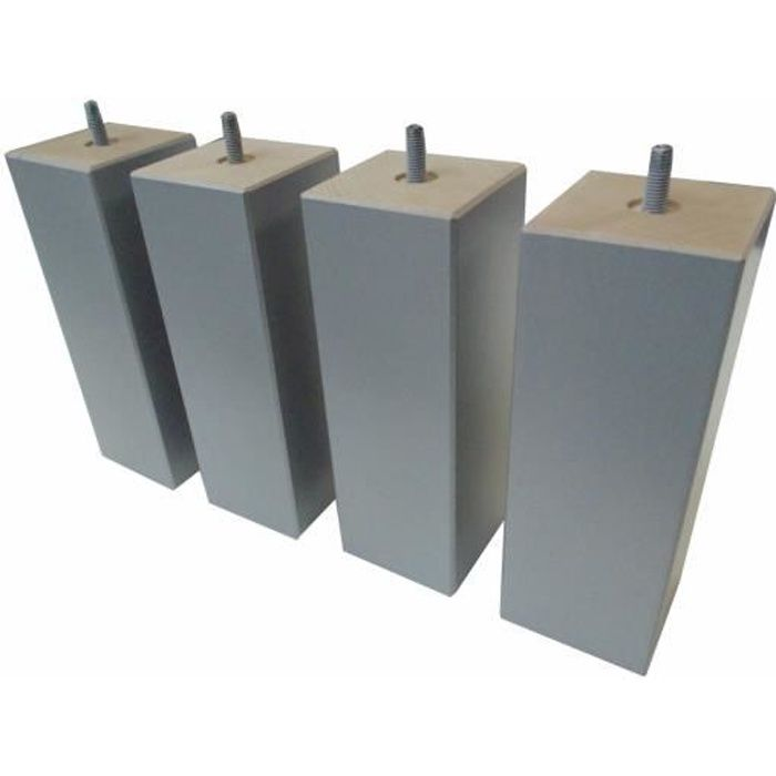 Jeu de 4 pieds bois carré silver 20 cm 70 x 70