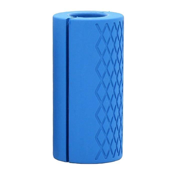 Haltère Poignées en Silicone Antidérapant Épaisses pour Forme Physique Bleu