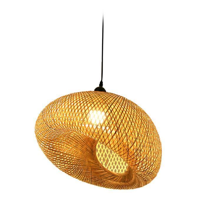 Style japonais bambou lanterne tissage lustre lampe à LED suspension pendentif lumière osier éclairage abat-jour Incliné 45cm