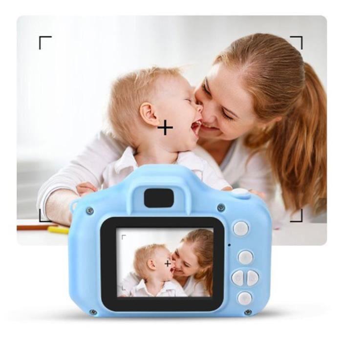 Mini appareil photo pour enfants exquis de style dessin animé haute définition avec carte mémoire 8G bleu