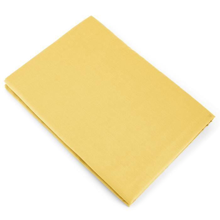 Drap plat uni 240x310 cm 100% coton ALTO jaune bourdon Jaune