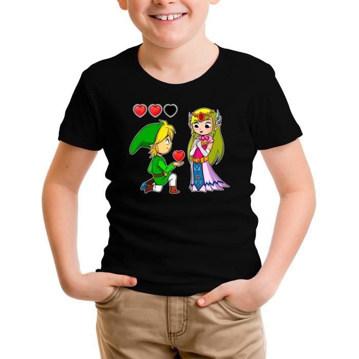 T-shirt Enfant Noir Zelda parodique Link et Zelda : Un héros aux grands coeurs (Parodie Zelda)