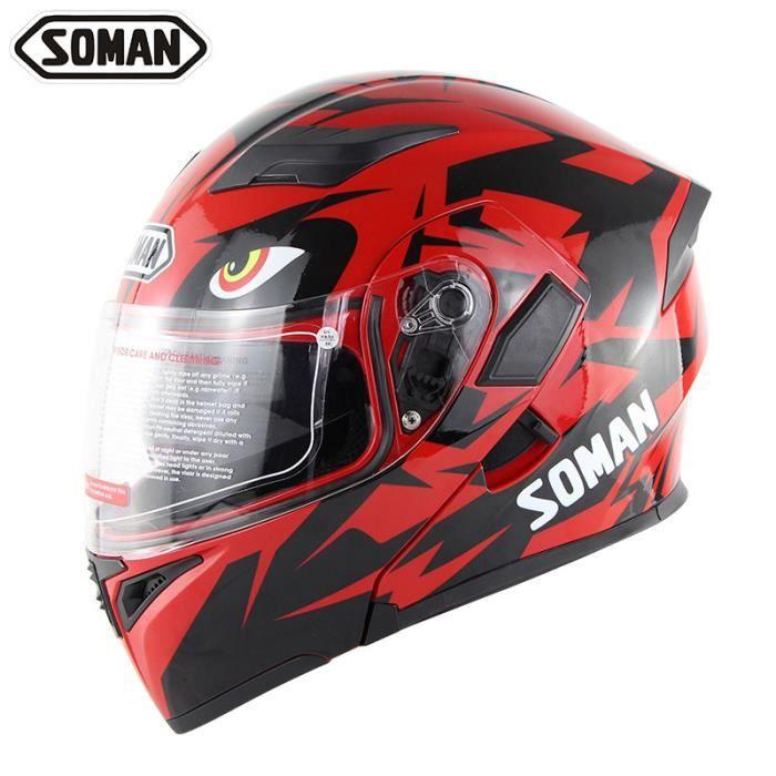 SOMAN Bluetooth Double lentille casque de moto rabattable pour hommes et hommes casque de moto de Motocross intégral Moto casco