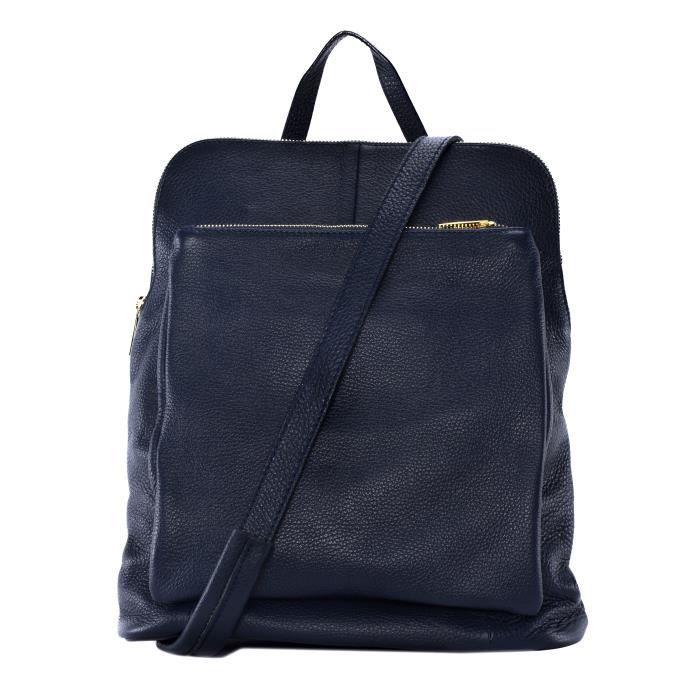 Sac à main - sac à dos femme en cuir grainé bleu foncé