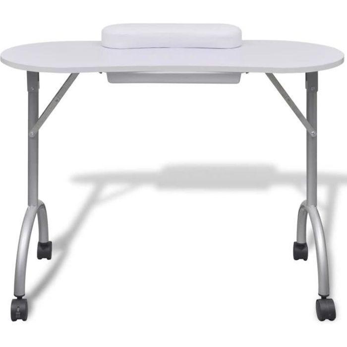 Table de manucure pliante blanche avec roulettes Table console
