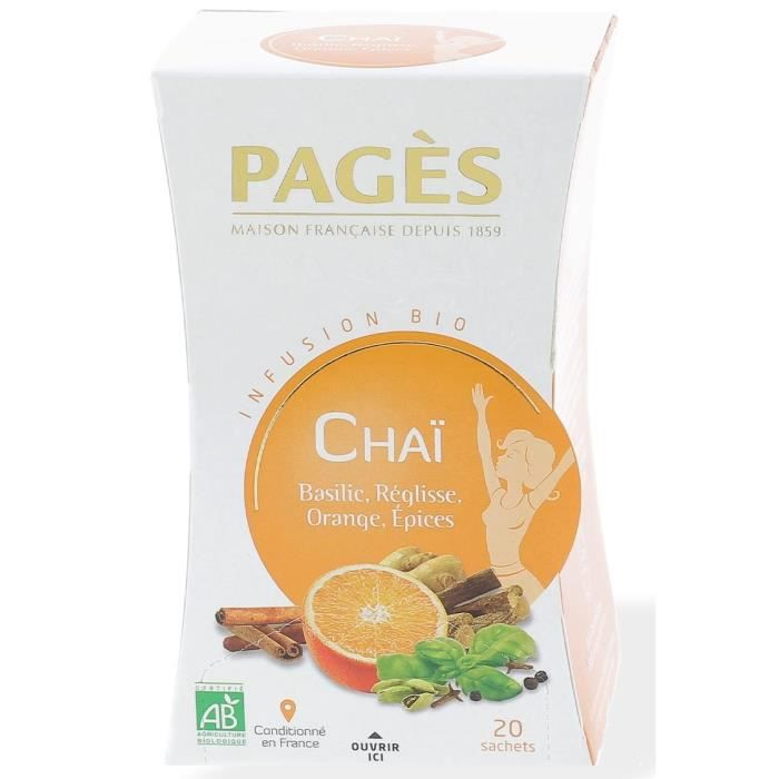 PAGES Infusion Chaï Basilic Réglisse Orange Épices - Bio - 20 sachets