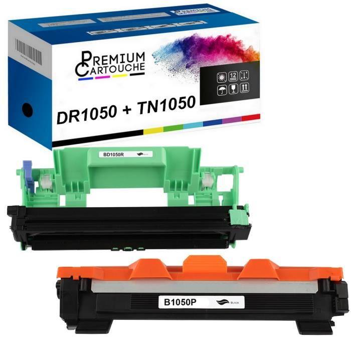 Tambour + Toner DR+TN1050 Compatible pour Brother HL-1110-1110E-1110R-1112-1112E-1112R-1210W-1212W, MFC-1810-1810E-1810R-1815R-1910W