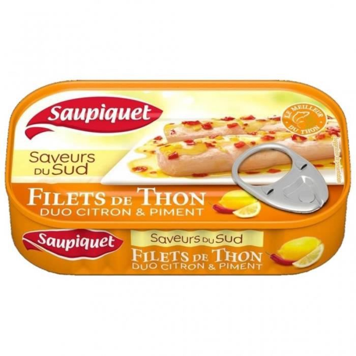 Saupiquet Filets de Thon Saveurs du Sud Duo Citron & Piment 115g (lot de 5)
